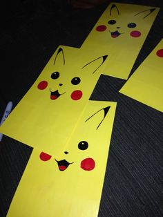 Handmade Pikachu party gift bags Party Favors For Kids Birthday, 6th Birthday Parties, Halloween Birthday, Boy Birthday, Birthday Stuff, Halloween Gifts, Birthday Ideas, Pokemon Craft, Pokemon Party