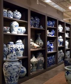 The Freshest Lines At The Spring Furniture Market - laurel home Blue And White Living Room, Blue And White Vase, White Vases, White Kitchen Decor, White Decor, Home Modern, Asian Decor, Furniture Market, Blue China