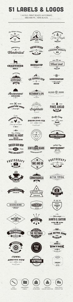 51 Labels and Logos | #labels #logos | Download: http://graphicriver.net/item/51-labels-and-logos/10402585?ref=ksioks