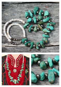Chunky Turquoise Bench Bead Necklace ***ALSO SEE My Handpicked List of Best Vintage Jewelry Books: http://myclassicjewelry.com/Books.htm