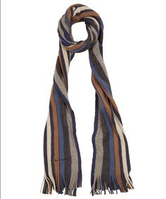 Grey and Brown Multi-stripe Scarf