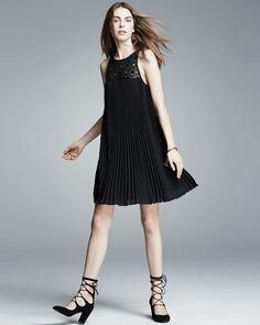 Trina Turk Sleeveless Pleated Shift Dress, Black