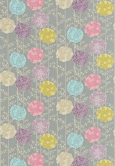 Orsina (120125) - Harlequin Fabrics - Large pompom flower heads with dainty stems and foliage - shown in the Haze, Violet, Turquoise, Rose, Taupe colourway. Please request sample for true colour match.