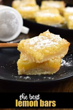 If you're looking for the best Lemon Bars recipe, this one is it. Buttery shortbread crust with a sweet and tangy lemon filling! Lemon Desserts, Lemon Recipes, Summer Desserts, Fun Desserts, Delicious Desserts, Yummy Food, Bakery Recipes, Sweets Recipes, Yummy Recipes