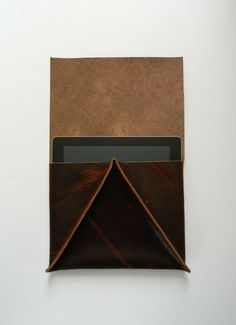 Distressed Chocolate Brown Leather Ipad Case  Sleeve  by CrowSLC, $140.00