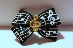 Music Note Hair Bow Gold Glitter Treble Clef by RockerchicBoutique, $6.50