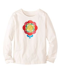 Another easy to make geometric shapes graphic I may use to spruce up some plainer pieces. b....Another great find on #zulily! Soft White Glitter Flower Tee - Infant, Toddler & Girls #zulilyfinds