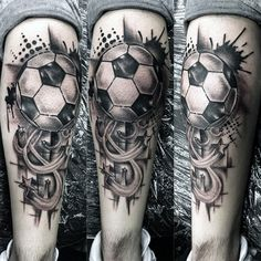 Mens Soccer Stars Back Of Leg Calf Tattoo