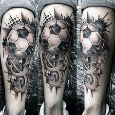 Mens Football Tattoos On Leg