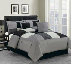 """8 Piece Cal King Carson Comforter Set Black/Gray by KingLinen. $79.99. This beautiful ensemble features patchwork with handcrafted knots and pleated details, an eclectic set that will be great for any bedroom. 3 decorative pillows included.FeaturesSize: California KingColor: Black/Gray/Off white100% PolyesterMachine washableThis set includes:1 Comforter (101""""x86"""")2 Shams (20""""x36"""")1 Bedskirt(72""""x84""""+14"""")2 Decorative Cushions2 Euro Shams (24""""x24""""). Save 68%!"""