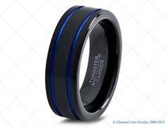 Mens Wedding Band,Black Blue Tungsten Ring,Black Wedding Bands,Colored Rings,4mm,6mm,7mm,9mm,12mm,Size,Womens,Matching,Hers,Set,Anniversary