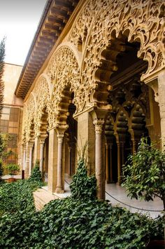 Palacio de la Aljafería zaragoza (Aljafería Palace), a fortified medieval Islamic palace built during the second half of the century in the Moorish taifa of Zaragoza of Al-Andalus, present day Zaragoza, Spain. (by Merce Cedo). Architecture Antique, Art Et Architecture, Islamic Architecture, Beautiful Architecture, Beautiful Buildings, Architecture Details, Beautiful World, Beautiful Places, Beautiful Pictures
