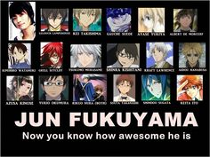 Jun Fukuyama ( Liberta (Arcana Famiglia), Lelouch  Lamperouge) (Code Geass), Misaki (K), Keiichi (Kiniro No Corda), Grell (Kuroshitsuji), Kei (Special A), Hanabusa (Vampire Knight), Kimihiro Watanuki (XxxHolic), Vincent Nightray (Pandora Hearts) ), Kin'iro no Corda (Keiichi Shimizu), Zelman Clock (Black Blood Brothers), Mizuiro Kojima, Yumichika Ayasegawa (Bleach) Kassim (Magi), Kevin Cecil (Devils and Realist) )