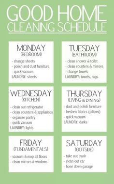 Home management schedule