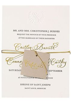 "Letterpress and Gold Foil Invitation with Embossed Monogram. ""Monogrammed Laurel Suite"" letterpress wedding invitation with gold foil details and embossed monogram, starting at $1,675 for 100 invitation suites, Courtney Callahan"