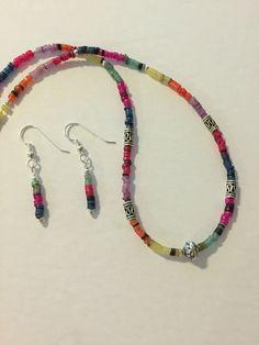 Multil Color Heishi Bead Necklace Set, Sterling Silver Necklace set, Minimalist Necklace, Jewelry set, Boho necklace