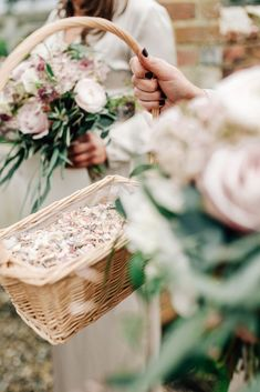 Confetti Basket | Elegant Wedding At Wasing Park With Bride In Embellished Temperley Bridal Gown With Fine Art Images From Grace And Blush Film By Mrs Mashup