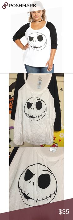 Nightmare before Christmas Raglan tee this is a brand new never worn plus size tee from torrid. Size 3x. Raglan tee- 3/4 length sleeves. Features Jack from the nightmare before Christmas. Super cute!!! torrid Tops Tees - Long Sleeve