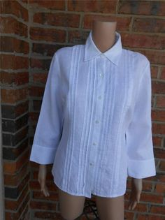 LAFAYETTE 148 100% Linen Blouse Size 10 Women Pin Tucked Shirt Top White