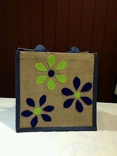 Hand made jute shopping gift bags set of two 787490ab956b0
