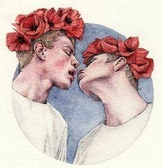 Tomalchev trae para nosotros una peculiar colección de acuarelas en las que combina lo inocente y asexual con la homosexualidad en su máxima intimidad.