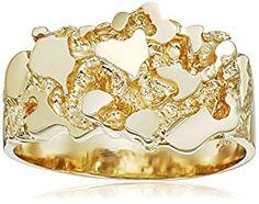Men's 14k Solid Yellow Gold Nugget Diamond-Cut Ring