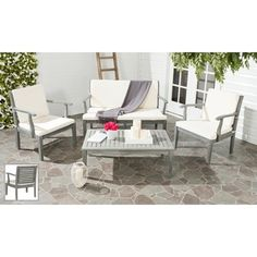 Safavieh Outdoor Living Fresno Ash Grey Acacia Wood 4-piece Beige Cushion Patio Set - Overstock™ Shopping - Big Discounts on Safavieh Sofas, Chairs & Sectionals
