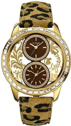 Guess U18512L3 dual analog with two brown subdials animal print leather strap women watch NEW -- More info could be found at the image url.