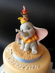 Baby Dumbo Christening Cake - cake by Maria Letizia Bruno - CakesDecor Dumbo Baby Shower, Baby Dumbo, Baby Shower Cakes, Dumbo Cake, Dumbo Birthday Party, Bicycle Cake, Movie Cakes, Elephant Cakes, Farm Cake