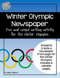 Winter Olympics Newspaper Project Winter Olympics 2014, Summer Olympics, Olympic Idea, Olympic Games, Teachers Toolbox, Teacher Resources, Preschool Art Activities, Teaching Techniques, Sixth Grade