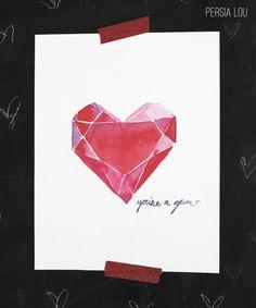 You're a Gem Free Valentine's Watercolor Printables - www.persialou.com