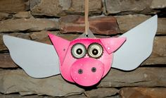 Flying Pig Recycled  Art Ornament by Kings Bench Creations on Etsy