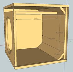 Project for sub woofer 12 in. 500 watts with duct. 12 Inch Speaker Box, Speaker Box Diy, Speaker Plans, Speaker Box Design, Diy Speakers, Diy Subwoofer, 12 Inch Subwoofer Box, Subwoofer Box Design, Ported Box