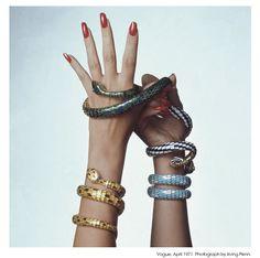 Photograph by Irving Penn of Bulgari Serpenti bracelets from Vogue, April 1971