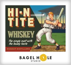 Whiskey Art Baseball Print by BagelHole on Etsy, $25.00