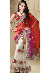 Maroon, Magenta and White Net Lehenga Style Saree With Blouse