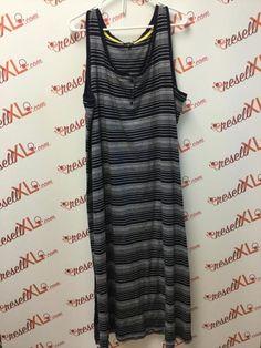 cddcfbea4c2eae Talbots Size 3X Striped Navy Maxi Dress