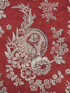 Antique French 18th century block print  linen Rouen valance pelmet textile red