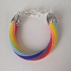 Купить Радужный браслет - подарок, своими руками, бисер, ручная работа, авторская работа, женщине