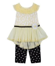 Look at this Yellow Floral Yoke Tunic & Leggings - Infant, Toddler & Girls on #zulily today!