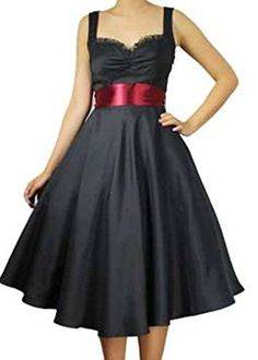 XSXXL Mesmerizing Moon Marilyn  Blue or Black 40s 50s Retro Swing Satin Dress XXL Black >>> ** AMAZON BEST BUY -affiliate link**