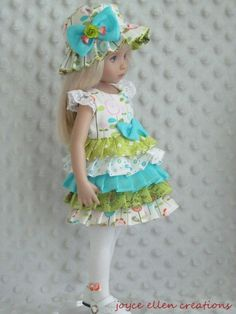 "13"" Effner Little Darling BJD lime & aqua fluff dress OOAK handmade by JEC #JoyceEllenCreations"