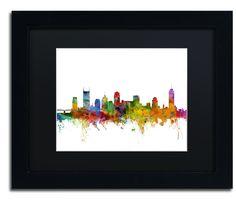Nashville Tennessee Skyline by Michael Tompsett Framed Graphic Art