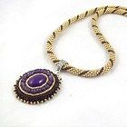 Crochet beads rope necklace with jade pendant, purple gold necklace