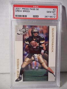 2001 Press Pass SE Drew Brees Rookie PSA Gem Mint 10 Football Card #2 NFL #SanDiegoChargers
