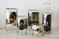 pot en verre = cadre photo old jars = photo frames Mason Jars, Bottles And Jars, Glass Bottles, Glass Canisters, Pots Mason, Soda Bottles, Baby Food Jars, Food Baby, Baby Food Jar Craft Ideas