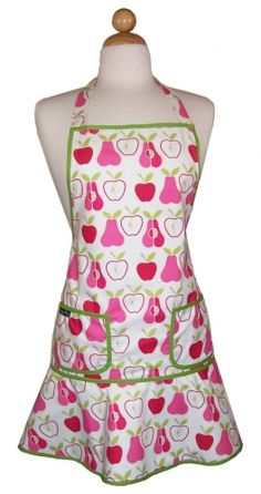 Fun Pink Pears vintage style apron  as seen on  worn by Bree Van De Kamp on Desperate Housewives~
