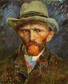 Zelfportret met een grijze vilten hoed, 1887, Vincent van Gogh Afmetingen: 42x34 cm Medium: olie op canvas