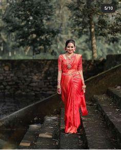 Kerala Hindu Bride, Kerala Wedding Saree, Bridal Sarees South Indian, Indian Bridal Outfits, Indian Bridal Fashion, Saree Wedding, Malayali Bride, Saree Wearing Styles, Bridal Lehenga Collection