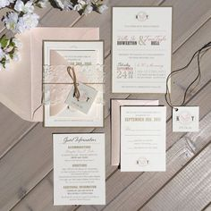 Blush, Gold and Ivory Wedding Invitation with Ivory Lace Band and Twine Tie with Monogram Tag This listing is for either a SAMPLE ($7.95), OR DEPOSIT ($100). Please read below for additional information, including pricing details, upgrades and ordering information. A custom